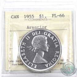 Silver $1 1955 Arnprior ICCS Certified PL-66. A bright flashy coin with full mirror finishes.