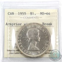 Silver $1 1955 Arnprior With Die Breaks ICCS Certified MS-64. A choice BU Coin!