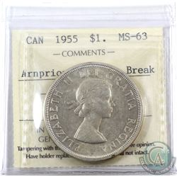 Silver $1 1955 Arnprior with Die Break ICCS Certified MS-63.