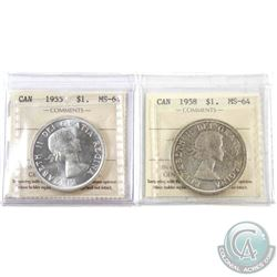 Silver $1 1955 & 1958 ICCS Certified MS-64. 2pcs