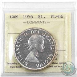 Silver $1 1956 ICCS Certified PL-66. Light golden toning on rim.