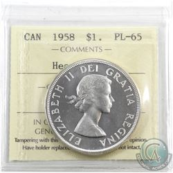 Silver $1 1958 ICCS Certified PL-65 Heavy Cameo. Blast white with reflective fields