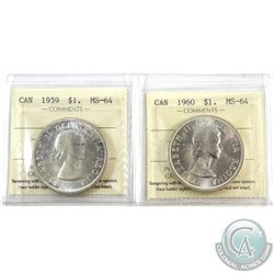 Silver $1 1959 & 1960 ICCS Certified MS-64. 2pcs