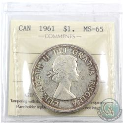 Silver $1 1961 ICCS Certified MS-65