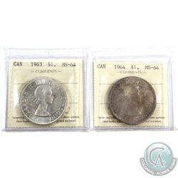 Silver $1 1963 & 1964 ICCS Certified MS-64. 2pcs