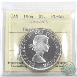 Silver $1 1964 ICCS Certified PL-66 Heavy Cameo