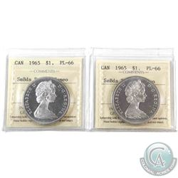 Silver $1 1965 SB Blt5 & 1965 SB Ptd5 ICCS Certified PL-66 Cameo. Blast white coins! 2pcs