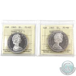 Silver $1 1965 SB Ptd 5 Heavy Cameo PL-65 & 1965 SmBds Blt5 Cameo ICCS Certified PL-65. 2pcs