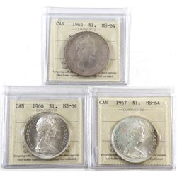 Silver $1 1965 SB Ptd5, 1966 Large Beads & 1967 ICCS Certified MS-64. 3pcs