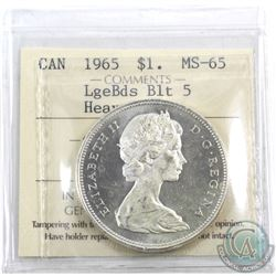 Silver $1 1965 LB Blt5 ICCS Certified MS-65 Heavy Cameo