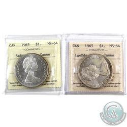 Silver $1 1965 LB Blt5 & 1965 SB Ptd5 ICCS Certified MS-64 Cameo. 2pcs