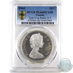 Silver $1 1965 LB Ptd5 PCGS Certified PL-66 DCAM. Shows as Ultra Heavy Cameo.