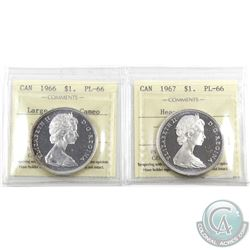 Silver $1 1966 PL-66 Cameo & 1967 PL-66 Heavy Cameo ICCS Certified. 2pcs