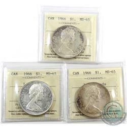 Silver $1 1966 ICCS Certified MS-65. 3pcs