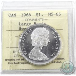 Silver $1 1966 ICCS Certified MS-65 Heavy Cameo. A full white coin with great eye appeal.