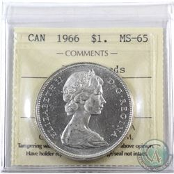 Silver $1 1966 ICCS Certified MS-65.