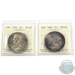 Silver $1 1966 ICCS Certified MS-65. 2pcs. Pair are lightly toned.