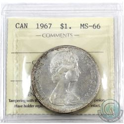 Silver $1 1967 ICCS Certified MS-66! An exceptional strike with soft hints on medium tones and clean