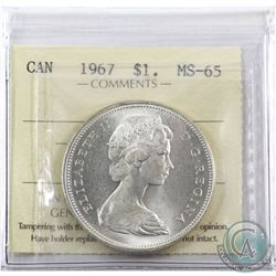 Silver $1 1967 ICCS Certified MS-65.