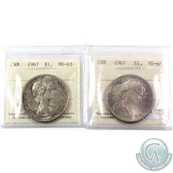 Silver $1 1967 ICCS Certified MS-65. 2pcs. Pair have golden hue toning uniform across the coins.