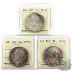 Silver $1 1967 ICCS Certified MS-65. 3pcs. Lightly toned