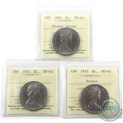 Nickel $1 1968 Normal Island, 1970 & 1972 ICCS Certified MS-65. 3pcs