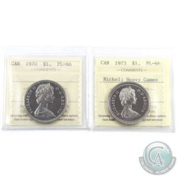 Nickel $1 1970 & 1973 Heavy Cameo ICCS Certified PL-66. 2pcs