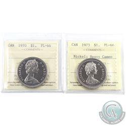 Nickel $1 1970 & 1973 Heavy Cameo ICCS Certified PL-66. 2pcs