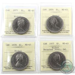 Nickel $1 1973, 1974, 1977 DJ SWL & 1978 ICCS Certified MS-65. 4pcs