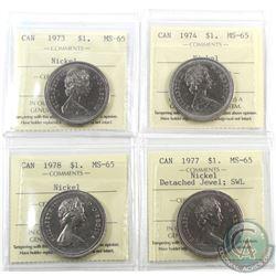 Nickel $1 1973, 1974, 1977 DJ SWL & 1978 ICCS Certified MS-65. 4pcs