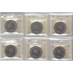 Nickel $1 1974 Varieties ICCS Certified: 1974 CH#1974-Rev-005 AU-50, 1974 Double Yoke #2 MS-62, 1974