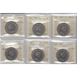 Nickel $1 1974 Varieties ICCS Certified: 1974 CH#1974-Rev-005 AU-50, 1974 Double Yoke #2 MS-62, 1974