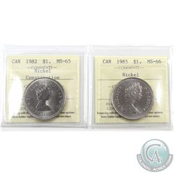 Nickel $1 1982 Constitution ICCS Certified MS-65 & 1985 ICCS MS-66. 2pcs