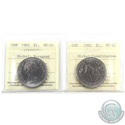 Nickel $1 1982 Voyageur & Constitution ICCS Certified MS-65. 2pcs
