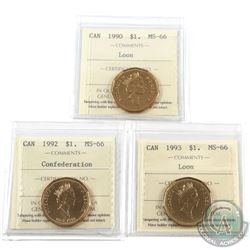 Loon $1 1990, 1992 Confederation & 1993 ICCS Certified MS-66. 3pcs