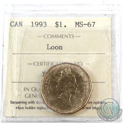 Loon $1 1993 ICCS Certified MS-67! TOP GRADE!