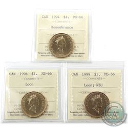Loon $1 1994 Remembrance, 1996 & 1999 Numismatic BU ICCS Certified MS-66. 3pcs