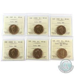 Loon $1 1997, 1998W, 1999, 2000W, 2001 & 2003 New Effigy ICCS Certified MS-66 NBU. 6pcs