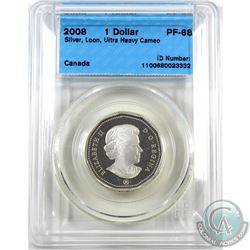 Loon $1 2008 Silver CCCS Certified PF-68 Ultra Heavy Cameo. This Silver Proof version was only issue