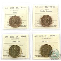 Loon $1 2011, 2011 Parks Canada, 2012 Grey Cup & 2012 Security ICCS Certified MS-66. 4pcs