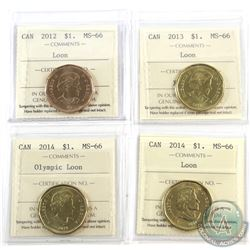 Loon $1 2012, 2013, 2014 Olympic Loon & 2014 ICCS Certified MS-66. 4pcs