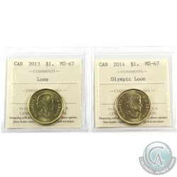 Loon $1 2013 & 2014 Olympic ICCS Certified MS-67. 2pcs