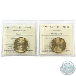 Loon $1 2017 & 2017 Canada 150 ICCS Certified MS-67. 2pcs