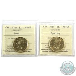 Loon $1 2019 & 2019 Equality ICCS Certified MS-67. 2pcs