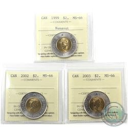 $2 1999 Nunavut, 2002 & 2003 Old Effigy ICCS Certified MS-66. 3pcs
