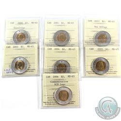 $2 2000 Knowledge, 2001, 2003 New Effigy, 2003 Old Effigy, 2004, 2005 & 2006 Commemorative RCM Logo