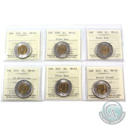 $2 2007, 2008, 2009, 2010 16 Serrations, 2011 & 2011 Boreal Forest ICCS Certified MS-65. 6pcs