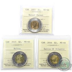 $2 2011 Boreal Forest, 2015 McCrae & 2016 Battle of Atlantic ICCS Certified MS-66. 3pcs