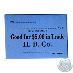 Hudson Bay Company Generic Note for $5.00 in Trade. No Date. Blue Cardboard with Black Printing. 64m