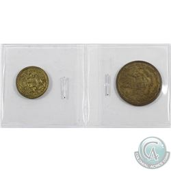 Hudson Bay Eastmain tokens. Lot includes a brass (1857) FT-2 1/2 Made Beaver EF-AU & (1857) FT-4 1/8